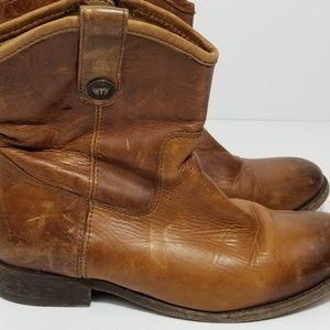 FRYE Boots Brown Tan Leather size 7 B Mid Calf